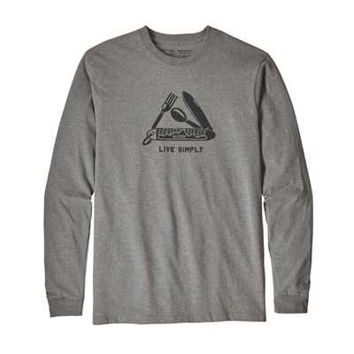 T-Shirt - Gravel Heather - Uomo - Ms L/S Live Simply Pocketknife Responsibili-Tee Patagonia