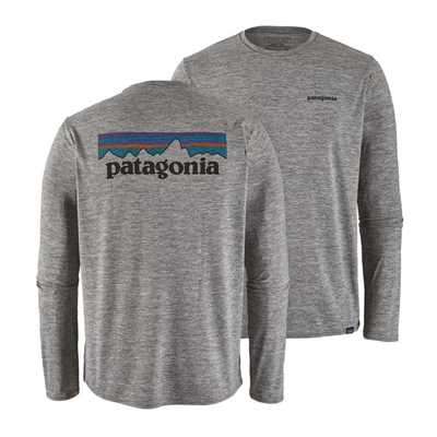 T-Shirt - P6 logo feather grey - Uomo - Ms Long - Sleeved Cap Daily Graphic Shirt  Patagonia
